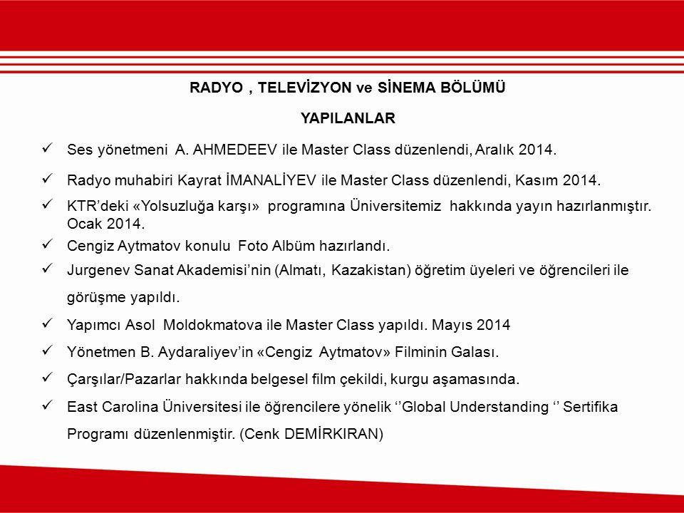 RADYO, TELEVİZYON ve SİNEMA BÖLÜMÜ YAPILANLAR Ses yönetmeni A. AHMEDEEV ile Master Class düzenlendi, Aralık 2014. Radyo muhabiri Kayrat İMANALİYEV ile