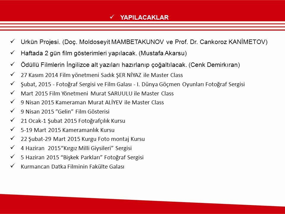YAPILACAKLAR Urkün Projesi. (Doç. Moldoseyit MAMBETAKUNOV ve Prof. Dr. Cankoroz KANİMETOV) Haftada 2 gün film gösterimleri yapılacak. (Mustafa Akarsu)