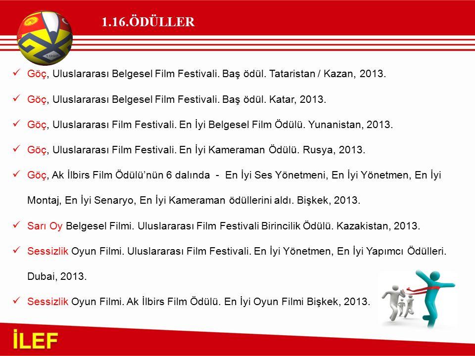 1.16.ÖDÜLLER Göç, Uluslararası Belgesel Film Festivali. Baş ödül. Tataristan / Kazan, 2013. Göç, Uluslararası Belgesel Film Festivali. Baş ödül. Katar