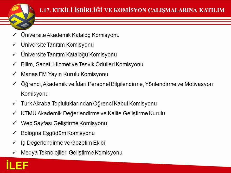 1.17. ETKİLİ İŞBİRLİĞİ VE KOMİSYON ÇALIŞMALARINA KATILIM Üniversite Akademik Katalog Komisyonu Üniversite Tanıtım Komisyonu Üniversite Tanıtım Kataloğ