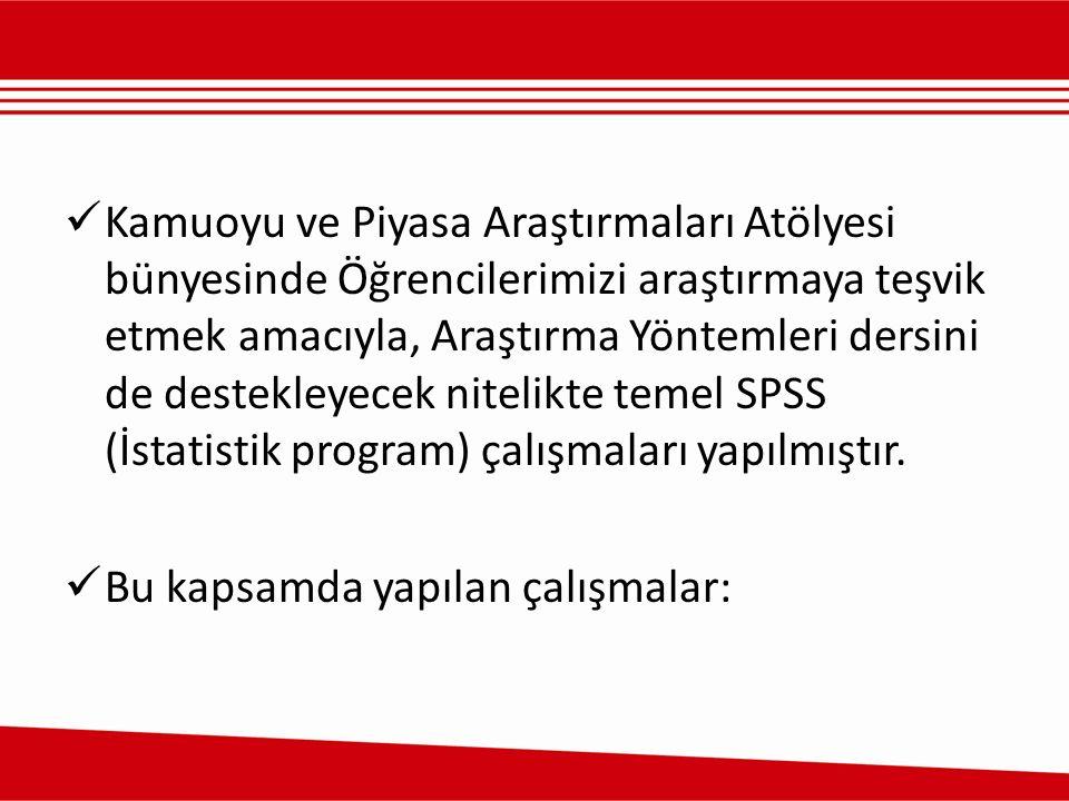 Kamuoyu ve Piyasa Araştırmaları Atölyesi bünyesinde Öğrencilerimizi araştırmaya teşvik etmek amacıyla, Araştırma Yöntemleri dersini de destekleyecek nitelikte temel SPSS (İstatistik program) çalışmaları yapılmıştır.
