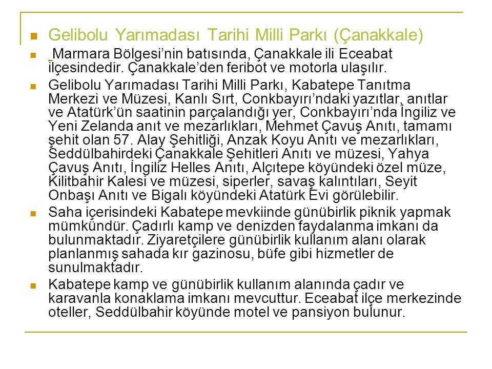 Gelibolu Yarımadası Tarihi Milli Parkı (Çanakkale) Marmara Bölgesi'nin batısında, Çanakkale ili Eceabat ilçesindedir. Çanakkale'den feribot ve motorla