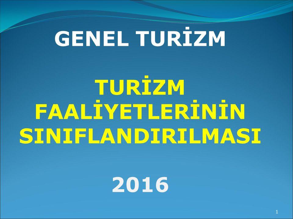 GENEL TURİZM TURİZM FAALİYETLERİNİN SINIFLANDIRILMASI 2016 1