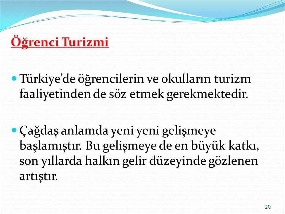 Öğrenci Turizmi Türkiye'de öğrencilerin ve okulların turizm faaliyetinden de söz etmek gerekmektedir. Çağdaş anlamda yeni yeni gelişmeye başlamıştır.