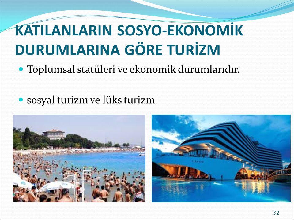 KATILANLARIN SOSYO-EKONOMİK DURUMLARINA GÖRE TURİZM Toplumsal statüleri ve ekonomik durumlarıdır. sosyal turizm ve lüks turizm 32