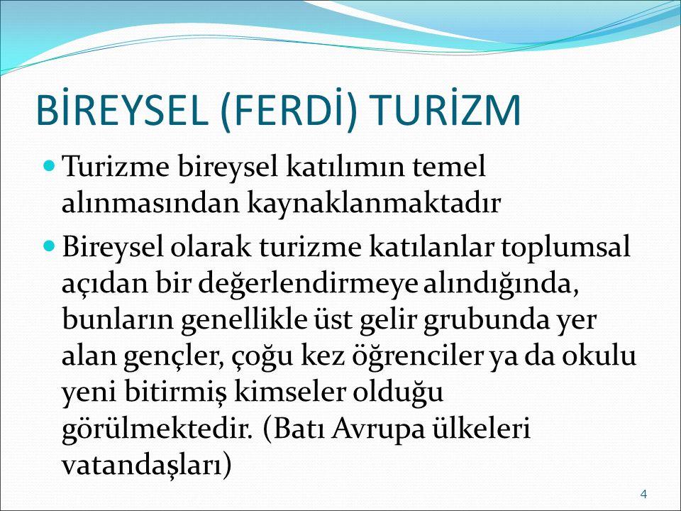 BİREYSEL (FERDİ) TURİZM Turizme bireysel katılımın temel alınmasından kaynaklanmaktadır Bireysel olarak turizme katılanlar toplumsal açıdan bir değerl