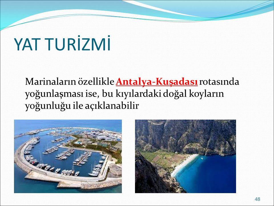 YAT TURİZMİ Marinaların özellikle Antalya-Kuşadası rotasında yoğunlaşması ise, bu kıyılardaki doğal koyların yoğunluğu ile açıklanabilir 48