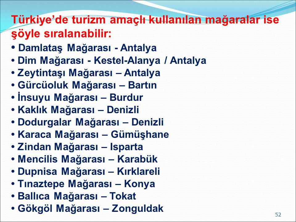 52 Türkiye'de turizm amaçlı kullanılan mağaralar ise şöyle sıralanabilir: Damlataş Mağarası - Antalya Dim Mağarası - Kestel-Alanya / Antalya Zeytintaş