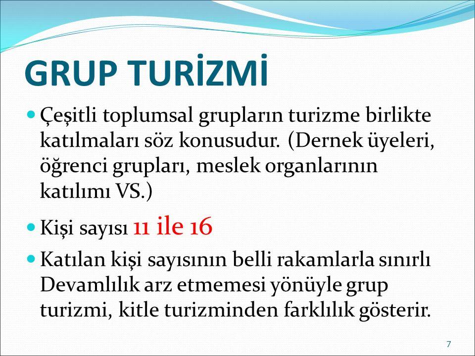 GRUP TURİZMİ Çeşitli toplumsal grupların turizme birlikte katılmaları söz konusudur. (Dernek üyeleri, öğrenci grupları, meslek organlarının katılımı V