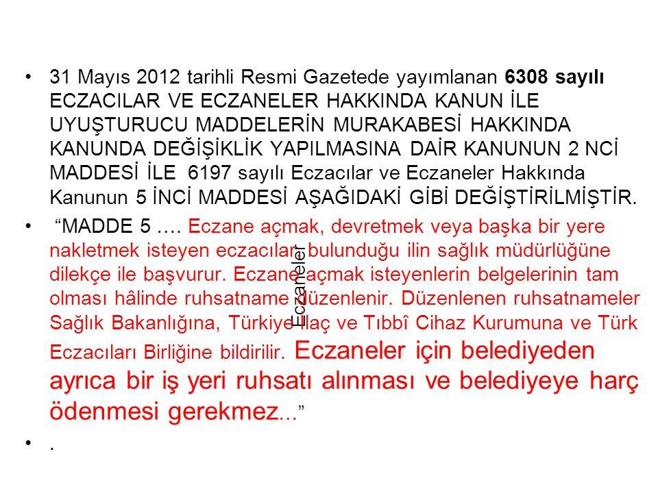 Eczaneler 31 Mayıs 2012 tarihli Resmi Gazetede yayımlanan 6308 sayılı ECZACILAR VE ECZANELER HAKKINDA KANUN İLE UYUŞTURUCU MADDELERİN MURAKABESİ HAKKINDA KANUNDA DEĞİŞİKLİK YAPILMASINA DAİR KANUNUN 2 NCİ MADDESİ İLE 6197 sayılı Eczacılar ve Eczaneler Hakkında Kanunun 5 İNCİ MADDESİ AŞAĞIDAKİ GİBİ DEĞİŞTİRİLMİŞTİR.