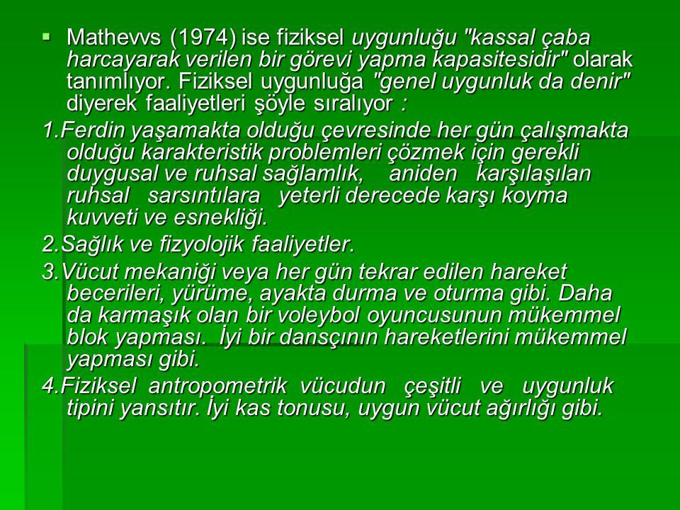  Mathevvs (1974) ise fiziksel uygunluğu