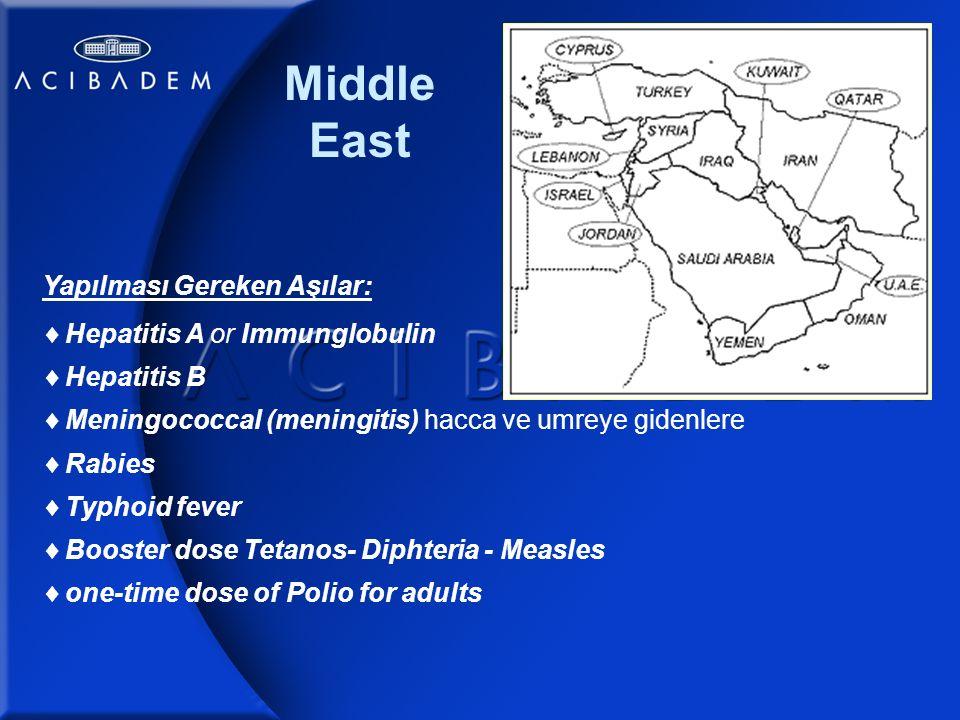 Middle East Yapılması Gereken Aşılar:  Hepatitis A or Immunglobulin  Hepatitis B  Meningococcal (meningitis) hacca ve umreye gidenlere  Rabies  Typhoid fever  Booster dose Tetanos- Diphteria - Measles  one-time dose of Polio for adults