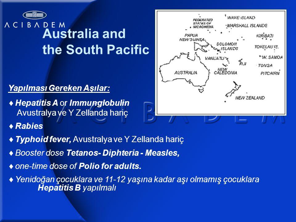 Australia and the South Pacific Yapılması Gereken Aşılar:  Hepatitis A or Immunglobulin..
