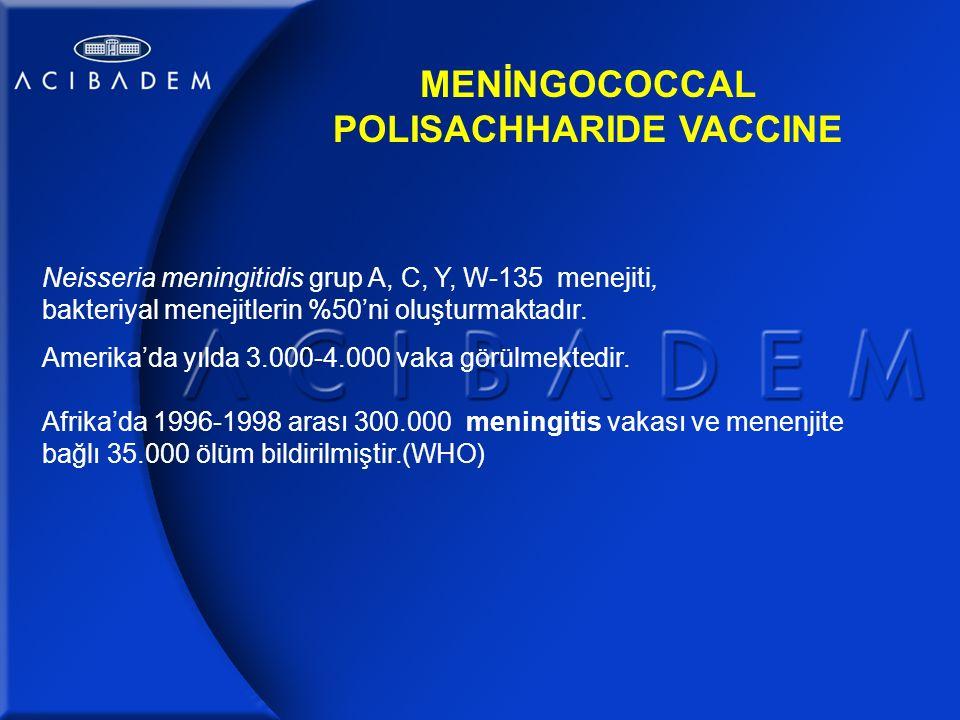 Neisseria meningitidis grup A, C, Y, W-135 menejiti, bakteriyal menejitlerin %50'ni oluşturmaktadır.