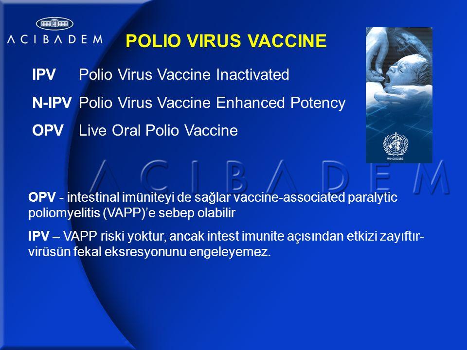 POLIO VIRUS VACCINE IPV Polio Virus Vaccine Inactivated N-IPVPolio Virus Vaccine Enhanced Potency OPVLive Oral Polio Vaccine OPV - intestinal imüniteyi de sağlar vaccine-associated paralytic poliomyelitis (VAPP)'e sebep olabilir IPV – VAPP riski yoktur, ancak intest imunite açısından etkizi zayıftır- virüsün fekal eksresyonunu engeleyemez.