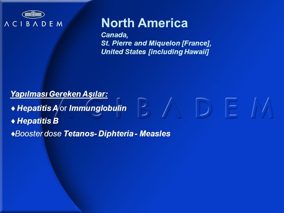 Western Europe Yapılması Gereken Aşılar:  Hepatitis A or Immunglobulin  Hepatitis B  Booster dose Tetanos- Diphteria - Measles