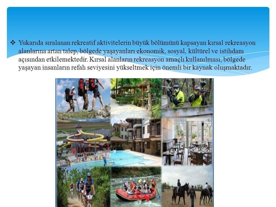  Yukarıda sıralanan rekreatif aktivitelerin büyük bölümünü kapsayan kırsal rekreasyon alanlarına artan talep, bölgede yaşayanları ekonomik, sosyal, kültürel ve istihdam açısından etkilemektedir.