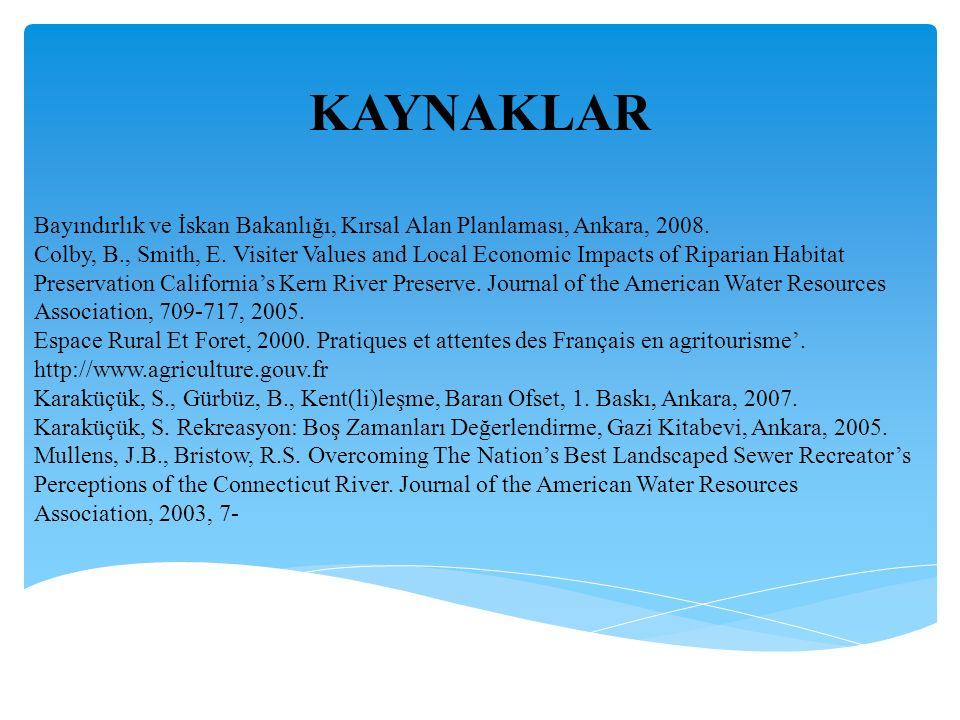 Bayındırlık ve İskan Bakanlığı, Kırsal Alan Planlaması, Ankara, 2008.