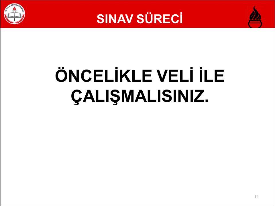 SINAV SÜRECİ ÖNCELİKLE VELİ İLE ÇALIŞMALISINIZ. 12