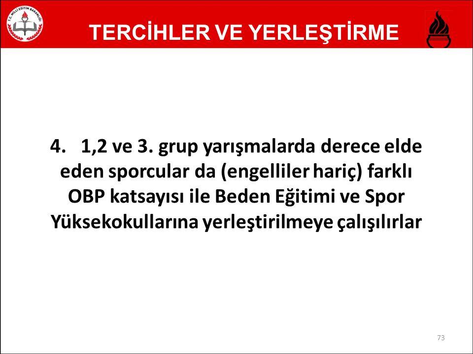 TERCİHLER VE YERLEŞTİRME 4. 1,2 ve 3.