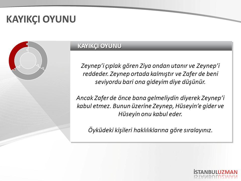 KAYIKÇI OYUNU Zeynep'i çıplak gören Ziya ondan utanır ve Zeynep'i reddeder.