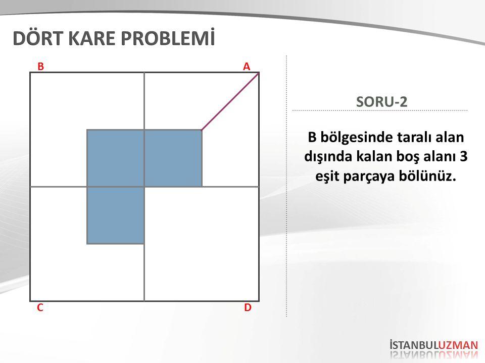AB CD B bölgesinde taralı alan dışında kalan boş alanı 3 eşit parçaya bölünüz. SORU-2 İşte Cevap!