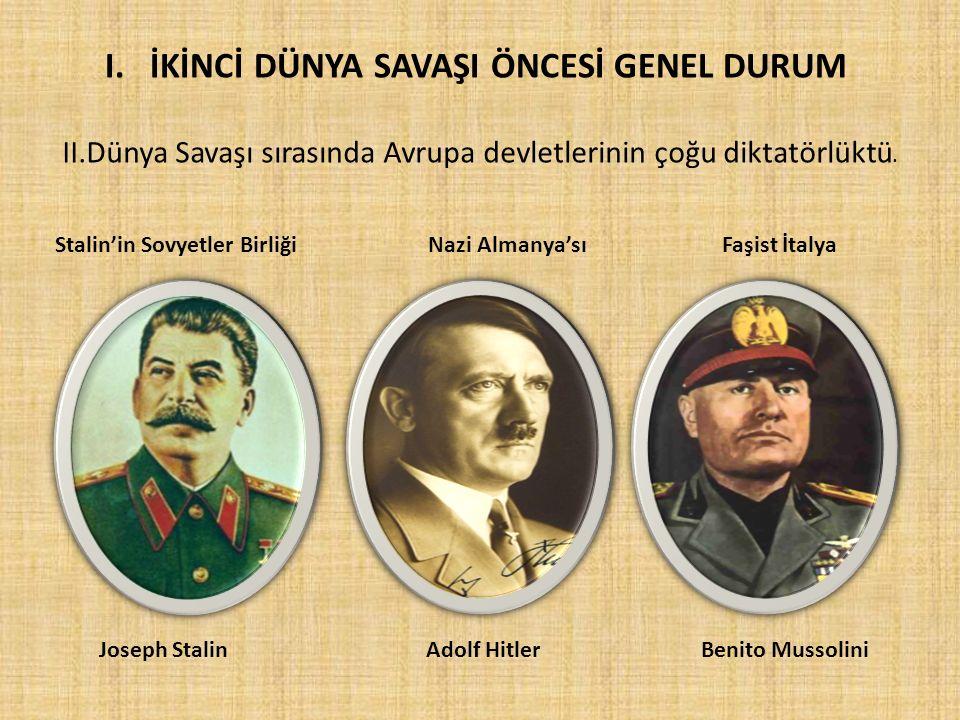 II.Dünya Savaşı sırasında Avrupa devletlerinin çoğu diktatörlüktü. Stalin'in Sovyetler Birliği Nazi Almanya'sı Faşist İtalya Joseph Stalin Adolf Hitle