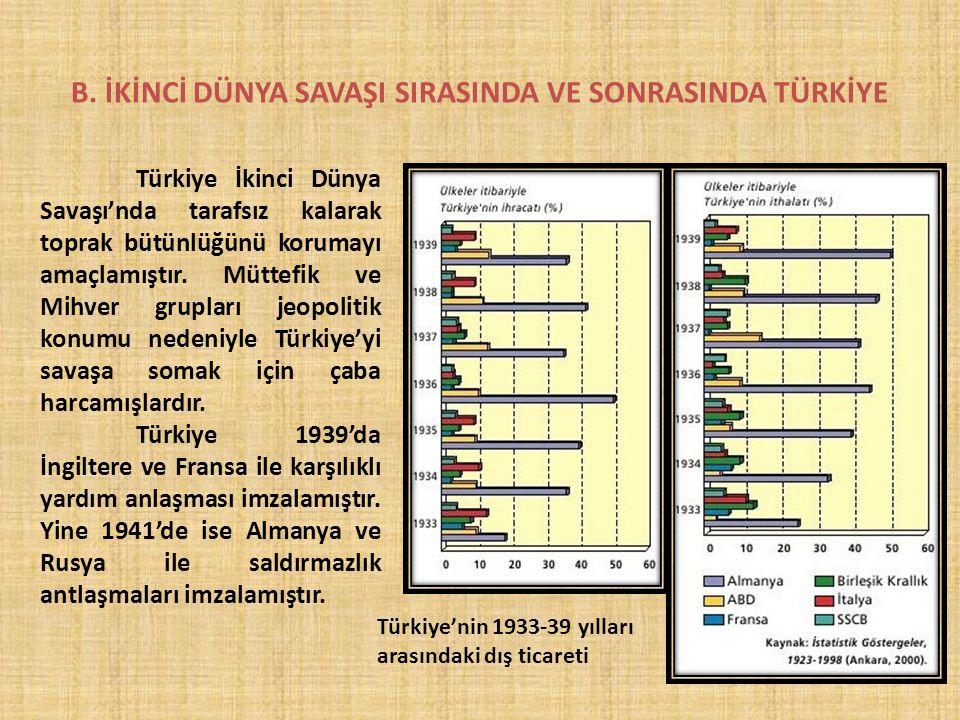B. İKİNCİ DÜNYA SAVAŞI SIRASINDA VE SONRASINDA TÜRKİYE Türkiye İkinci Dünya Savaşı'nda tarafsız kalarak toprak bütünlüğünü korumayı amaçlamıştır. Mütt