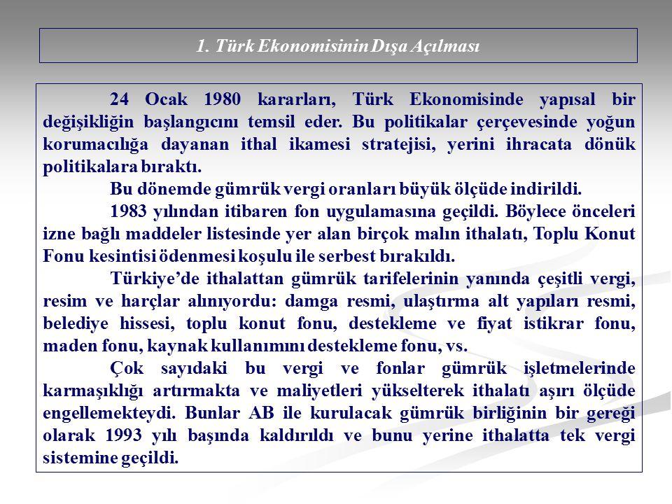 1. Türk Ekonomisinin Dışa Açılması 24 Ocak 1980 kararları, Türk Ekonomisinde yapısal bir değişikliğin başlangıcını temsil eder. Bu politikalar çerçeve