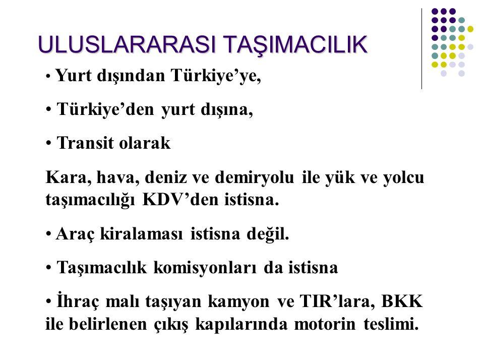 ULUSLARARASI TAŞIMACILIK Yurt dışından Türkiye'ye, Türkiye'den yurt dışına, Transit olarak Kara, hava, deniz ve demiryolu ile yük ve yolcu taşımacılığı KDV'den istisna.