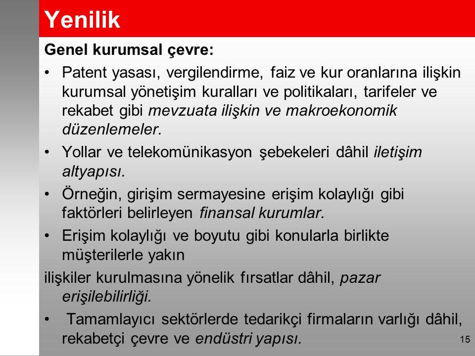 Yenilik Genel kurumsal çevre: Patent yasası, vergilendirme, faiz ve kur oranlarına ilişkin kurumsal yönetişim kuralları ve politikaları, tarifeler ve