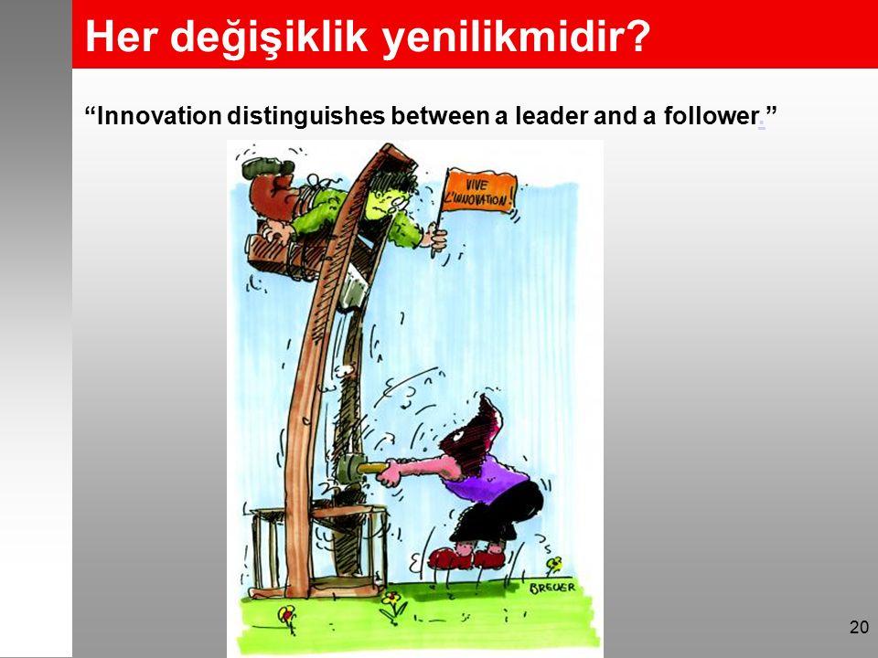 """Her değişiklik yenilikmidir? 20 """"Innovation distinguishes between a leader and a follower.""""."""