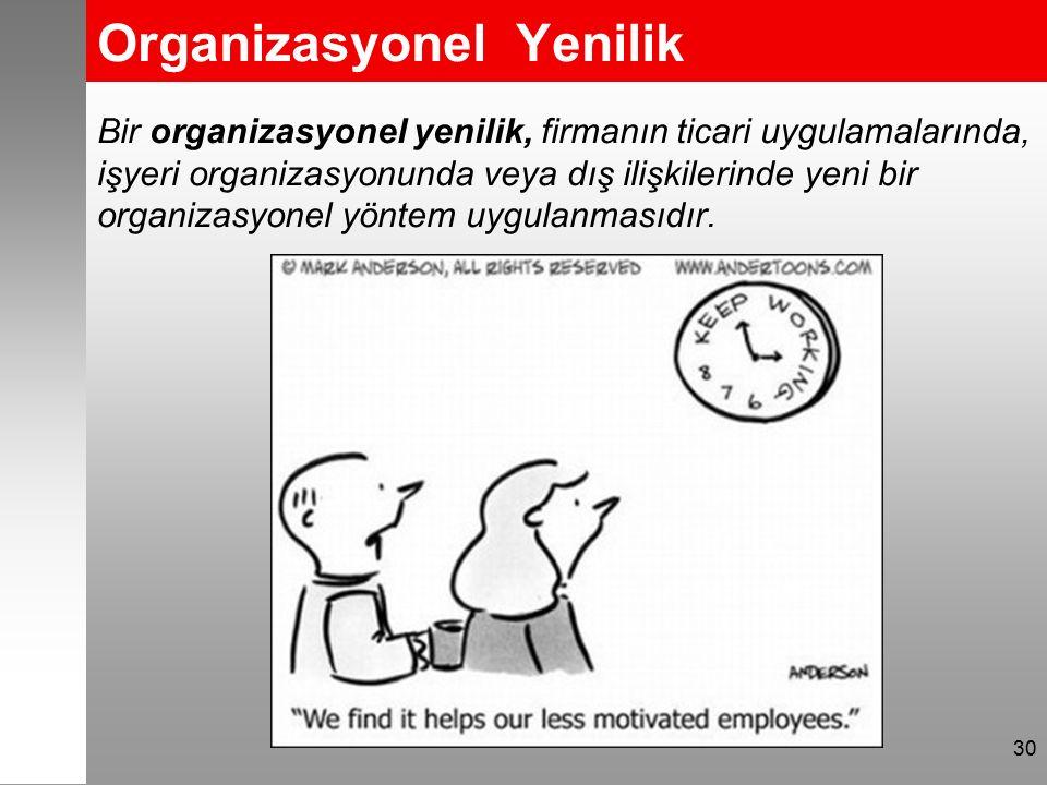 Organizasyonel Yenilik Bir organizasyonel yenilik, firmanın ticari uygulamalarında, işyeri organizasyonunda veya dış ilişkilerinde yeni bir organizasy