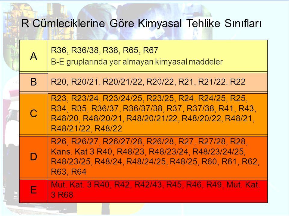 R Cümleciklerine Göre Kimyasal Tehlike Sınıfları A R36, R36/38, R38, R65, R67 B-E gruplarında yer almayan kimyasal maddeler B R20, R20/21, R20/21/22,