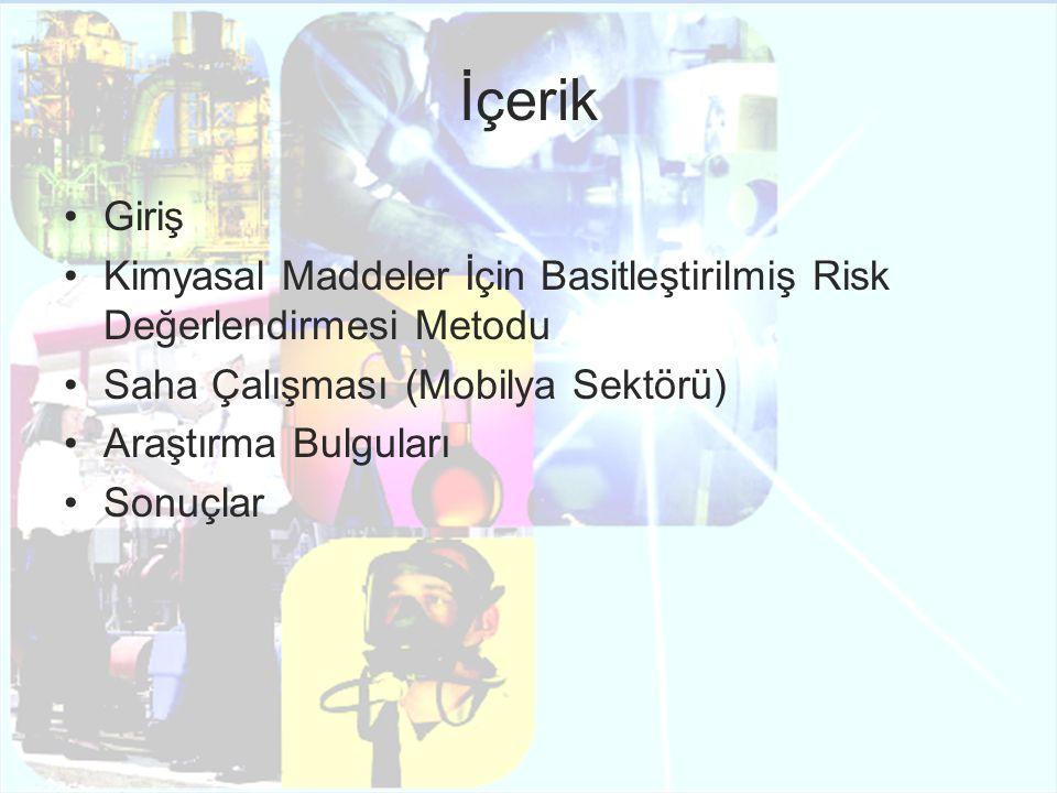 İçerik Giriş Kimyasal Maddeler İçin Basitleştirilmiş Risk Değerlendirmesi Metodu Saha Çalışması (Mobilya Sektörü) Araştırma Bulguları Sonuçlar
