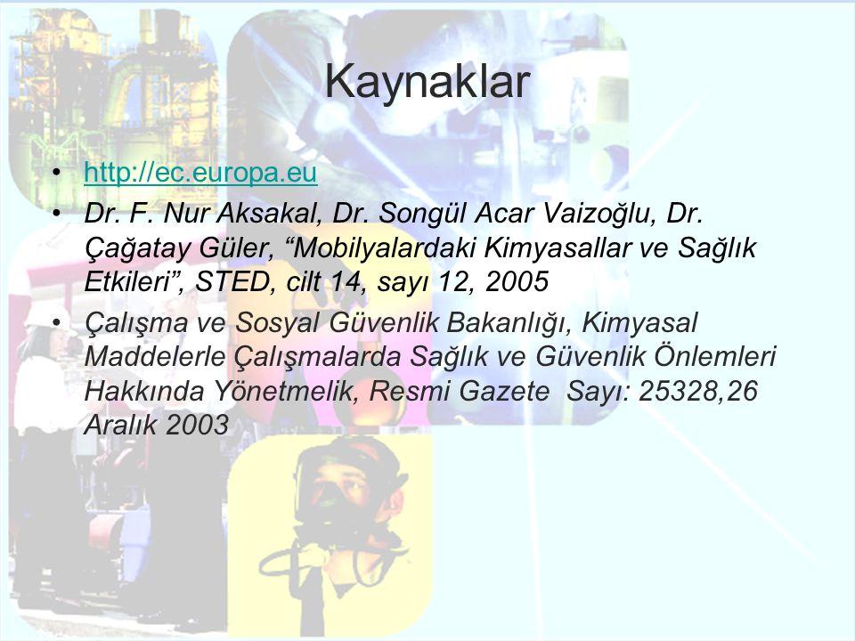 """Kaynaklar http://ec.europa.eu Dr. F. Nur Aksakal, Dr. Songül Acar Vaizoğlu, Dr. Çağatay Güler, """"Mobilyalardaki Kimyasallar ve Sağlık Etkileri"""", STED,"""