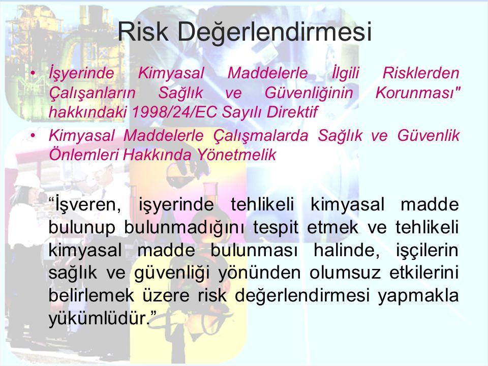 Risk Değerlendirmesi RiskRisk Faktörleri Tehlikeli Kimyasal Reaksiyonlar-Tehlikeli kimyasal ajanların kararsızlığı ve kimyasal reaktivitesi, -Sistem pamarametrelerinin kontrolü Patlama ve/veya Yangın-Kimyasal maddelerin fiziksel hali -Sıcaklık, basınç -Tutuşabilme özelliği -Alev kaynağı Solumaya ve/veya Deri Yoluyla Maruziyete Bağlı Riskler -Toksisite -Maruziyet süresi ve sıklığı -Kişilerin hassasiyeti Sindirim Yoluyla Maruziyete Bağlı Riskler-Kişisel Hijyen Alışkanlıkları - Çalışma Postasında Yeme, İçme ve Sigara içme Deri veya Göz Ile Kimyasal Ajan Arasındaki Temasa Bağlı Riskler - Kşisel Koruyucu Donanımların Yanlış Kullanımı, - Uygunsuz Çalışma Koşulları Tablo 1.