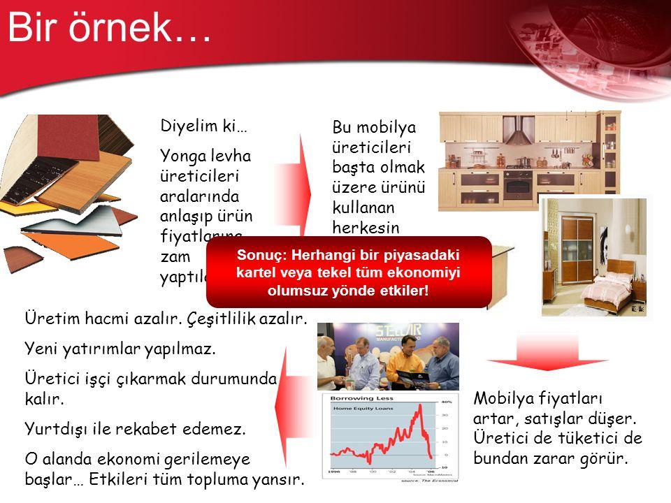 Bir örnek… Diyelim ki… Yonga levha üreticileri aralarında anlaşıp ürün fiyatlarına zam yaptılar.