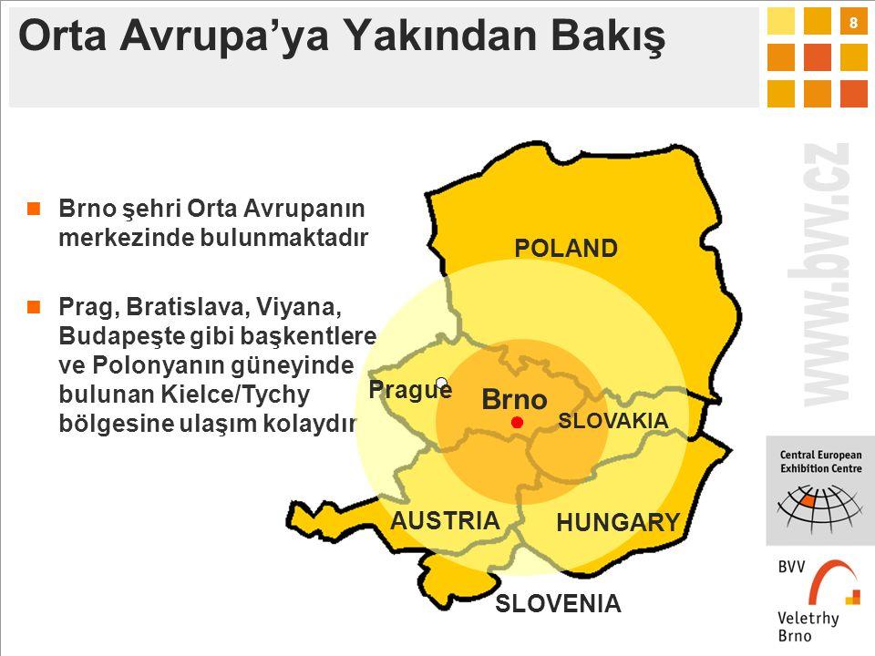 8 Orta Avrupa'ya Yakından Bakış Brno şehri Orta Avrupanın merkezinde bulunmaktadır Prag, Bratislava, Viyana, Budapeşte gibi başkentlere ve Polonyanın güneyinde bulunan Kielce/Tychy bölgesine ulaşım kolaydır POLAND HUNGARY SLOVAKIA Brno AUSTRIA Prague SLOVENIA