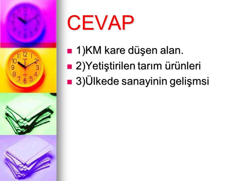CEVAP 1)KM kare düşen alan. 1)KM kare düşen alan. 2)Yetiştirilen tarım ürünleri 2)Yetiştirilen tarım ürünleri 3)Ülkede sanayinin gelişmsi 3)Ülkede san