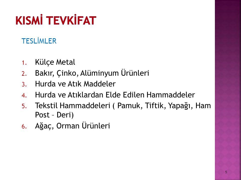 TESLİMLER 1. Külçe Metal 2. Bakır, Çinko, Alüminyum Ürünleri 3.