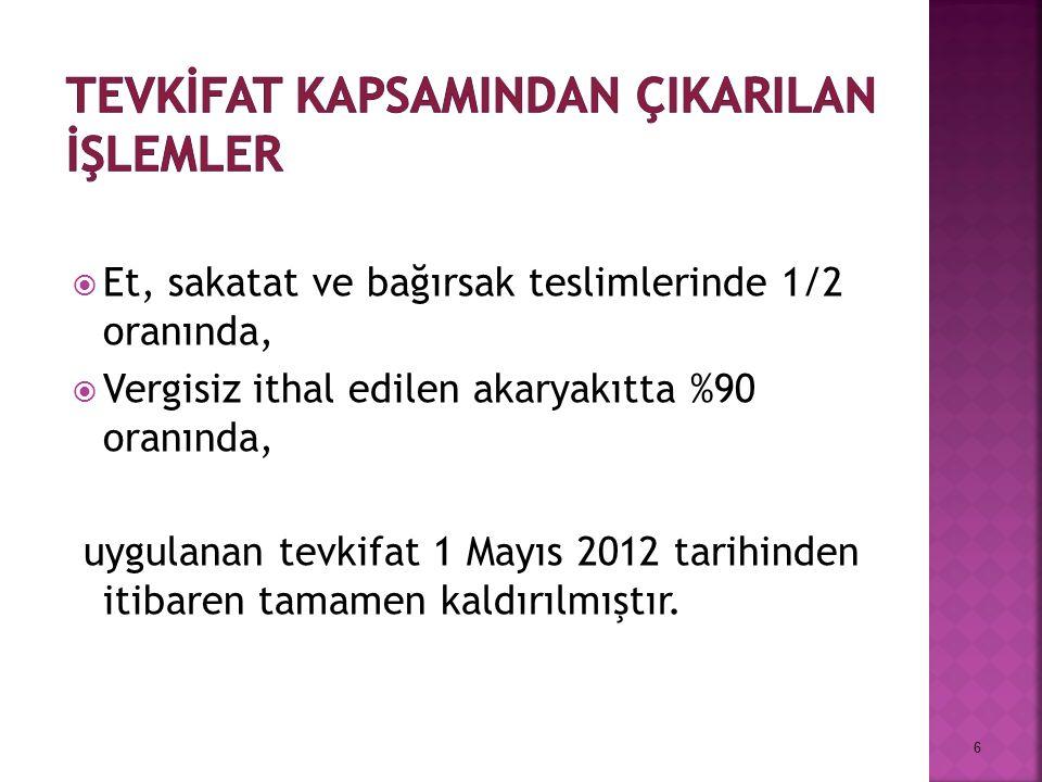  Et, sakatat ve bağırsak teslimlerinde 1/2 oranında,  Vergisiz ithal edilen akaryakıtta %90 oranında, uygulanan tevkifat 1 Mayıs 2012 tarihinden itibaren tamamen kaldırılmıştır.