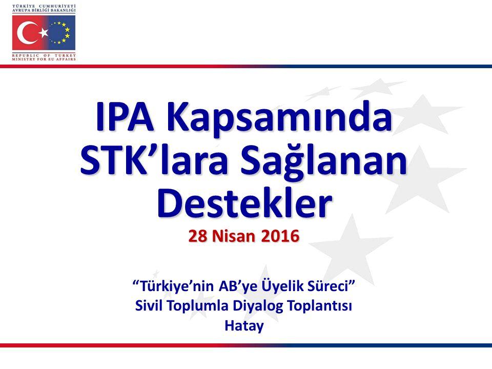 Türkiye'nin AB'ye Üyelik Süreci Sivil Toplumla Diyalog Toplantısı Hatay IPA Kapsamında STK'lara Sağlanan Destekler 28 Nisan 2016