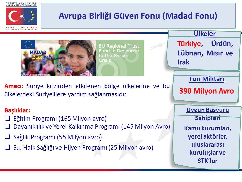 Avrupa Birliği Güven Fonu (Madad Fonu) Amacı: Suriye krizinden etkilenen bölge ülkelerine ve bu ülkelerdeki Suriyelilere yardım sağlanmasıdır.