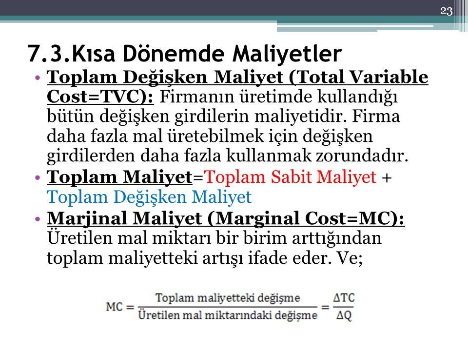 7.3.Kısa Dönemde Maliyetler Toplam Değişken Maliyet (Total Variable Cost=TVC): Firmanın üretimde kullandığı bütün değişken girdilerin maliyetidir. Fir