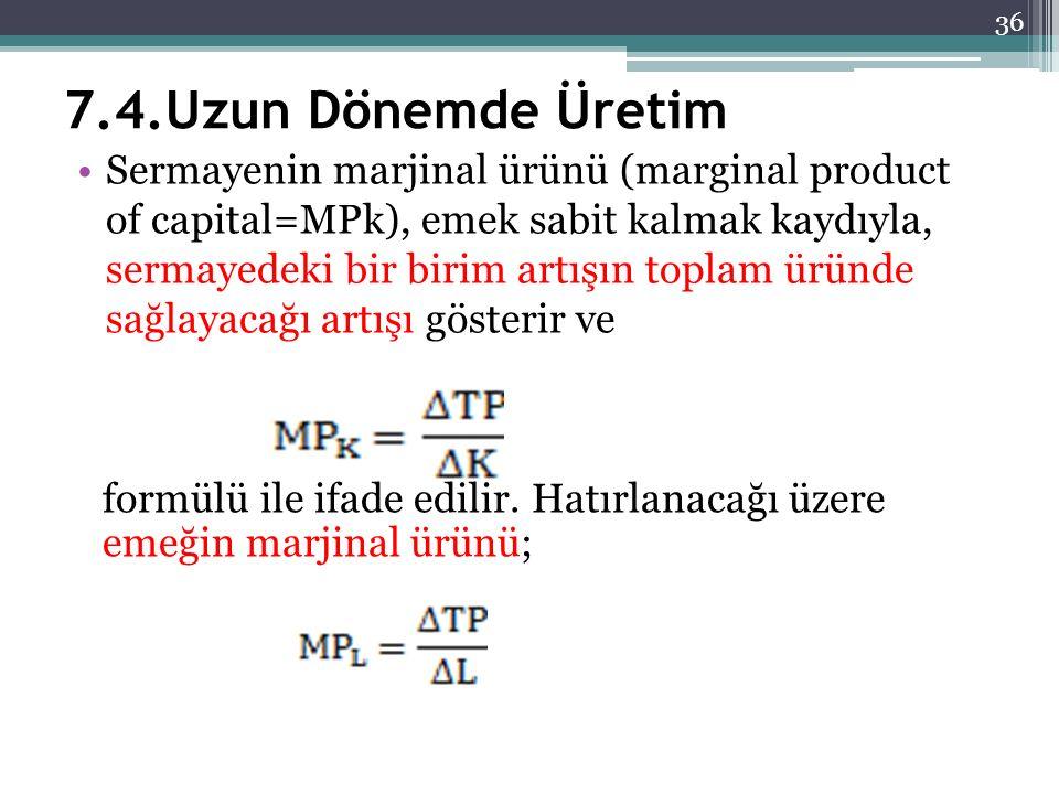 7.4.Uzun Dönemde Üretim Sermayenin marjinal ürünü (marginal product of capital=MPk), emek sabit kalmak kaydıyla, sermayedeki bir birim artışın toplam