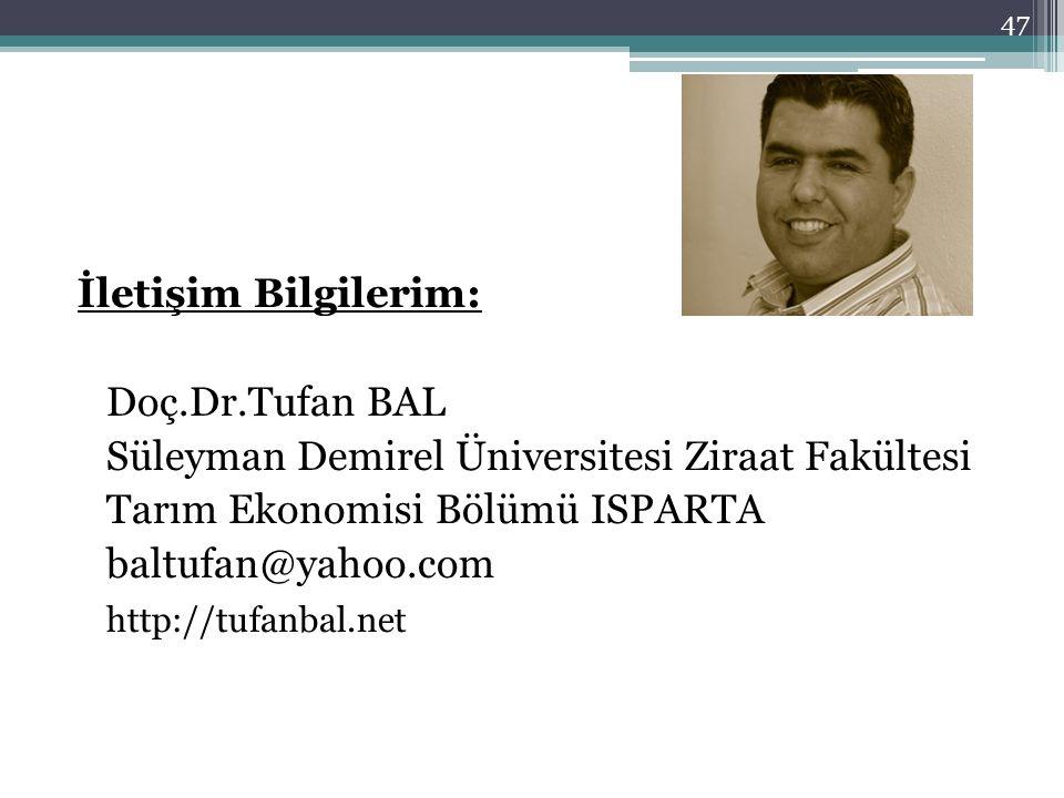 İletişim Bilgilerim: Doç.Dr.Tufan BAL Süleyman Demirel Üniversitesi Ziraat Fakültesi Tarım Ekonomisi Bölümü ISPARTA baltufan@yahoo.com http://tufanbal
