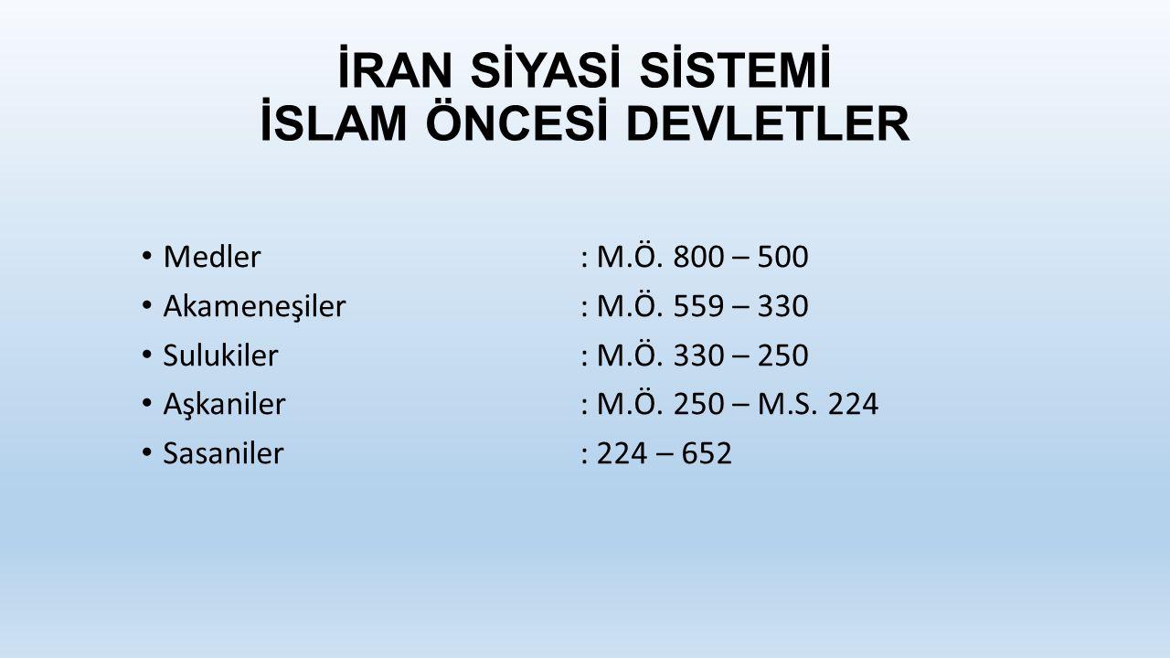 İRAN SİYASİ SİSTEMİ İSLAM ÖNCESİ DEVLETLER Medler: M.Ö.
