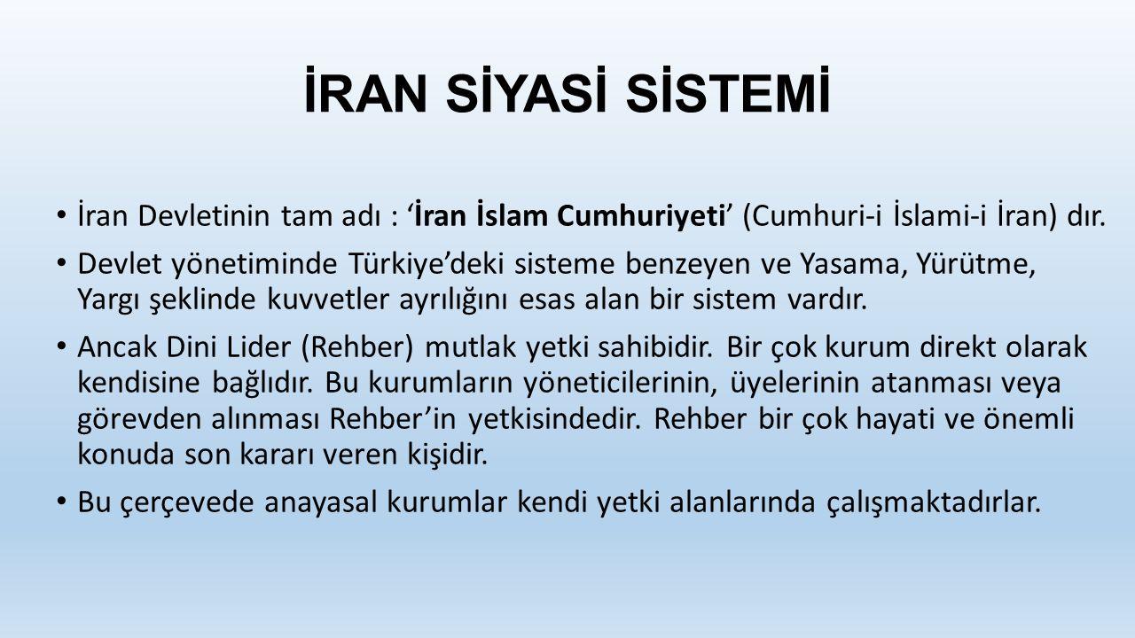 İRAN SİYASİ SİSTEMİ İran Devletinin tam adı : 'İran İslam Cumhuriyeti' (Cumhuri-i İslami-i İran) dır.