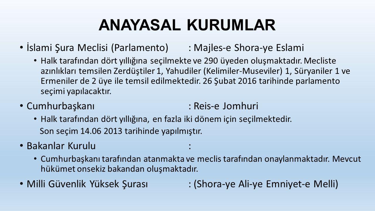ANAYASAL KURUMLAR İslami Şura Meclisi (Parlamento): Majles-e Shora-ye Eslami Halk tarafından dört yıllığına seçilmekte ve 290 üyeden oluşmaktadır.